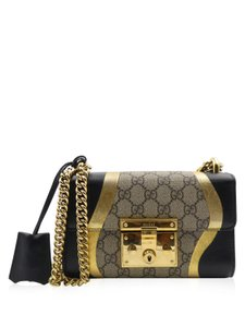 5032e8461787eb Added to Shopping Bag. Gucci Supreme Coated Canvas Leather Metallic Cross  Body Bag. Gucci Padlock Gg Supreme Leather Chain Strap Handbag Beige Black  Gold ...
