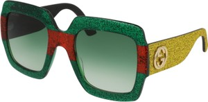 Gucci GUCCI OVERSIZE SQUARE GLITTER GREEN YELLOW SUNGLASSES GG0102/S