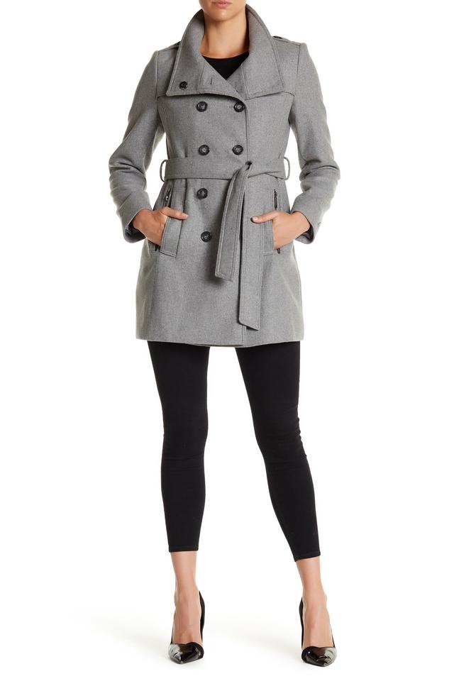 Grey double breasted trench coat