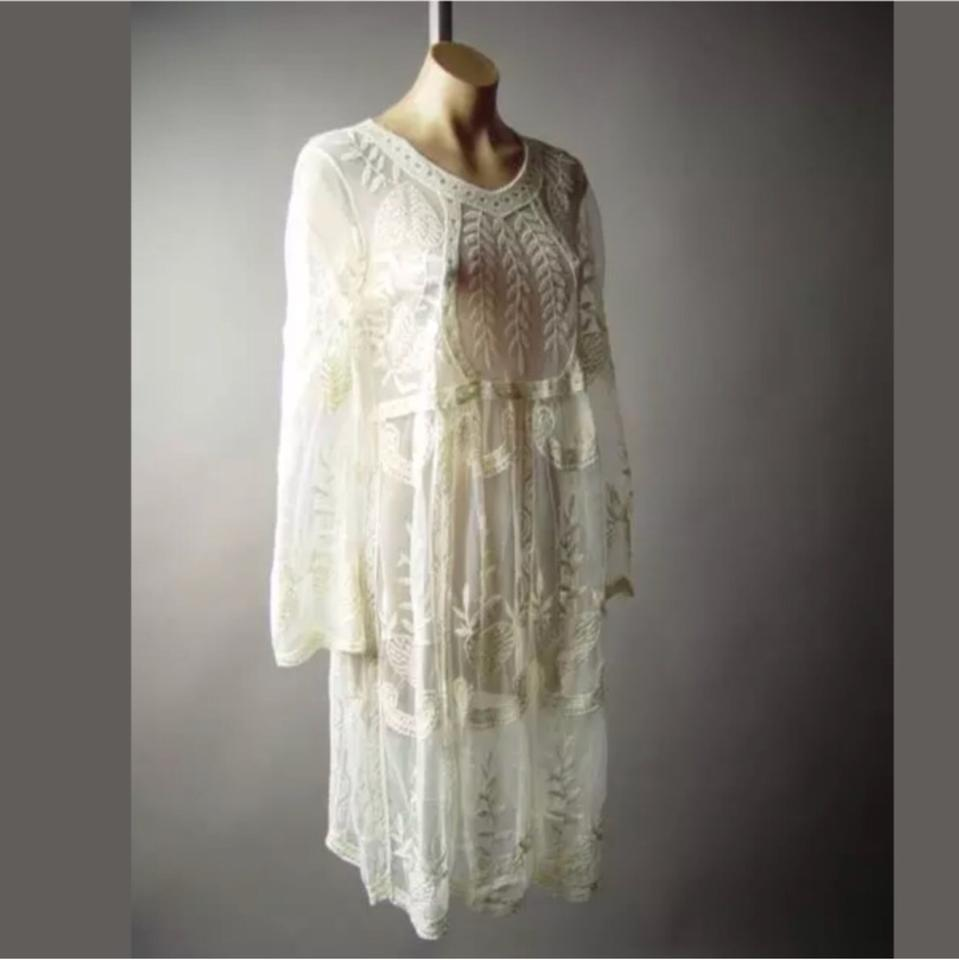 Ivory Embroidered Victorian Sheer Mid-length Cocktail Dress Size 8 ...