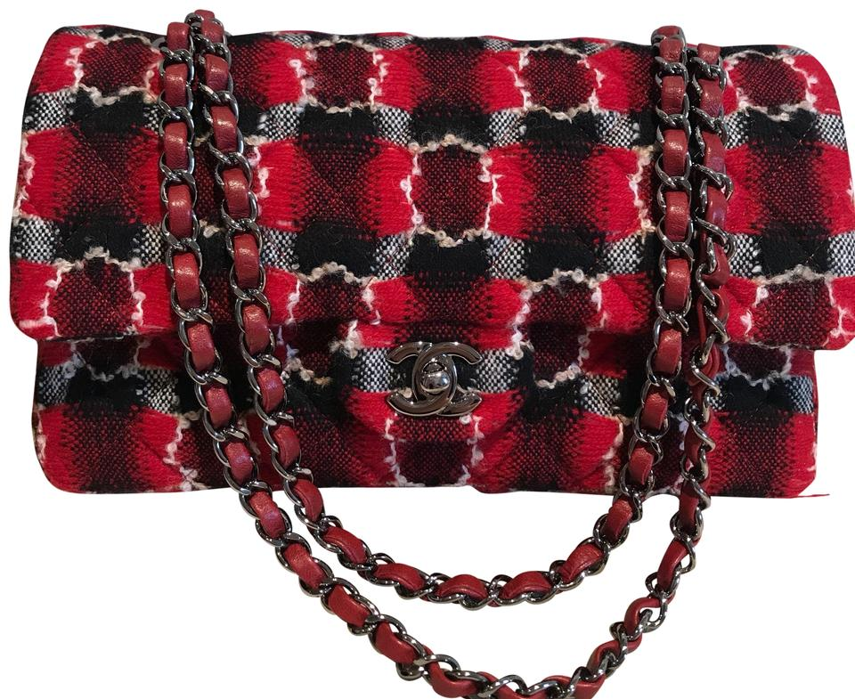 f579f91a8640 Chanel Double Classic Flap W W/Leather Lining Black & Red Tweed with ...