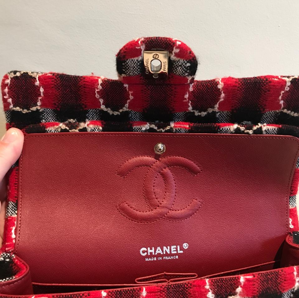 cda52c4e63 Chanel Classic Flap W Leather Lining Black   Red Tweed with Leather ...