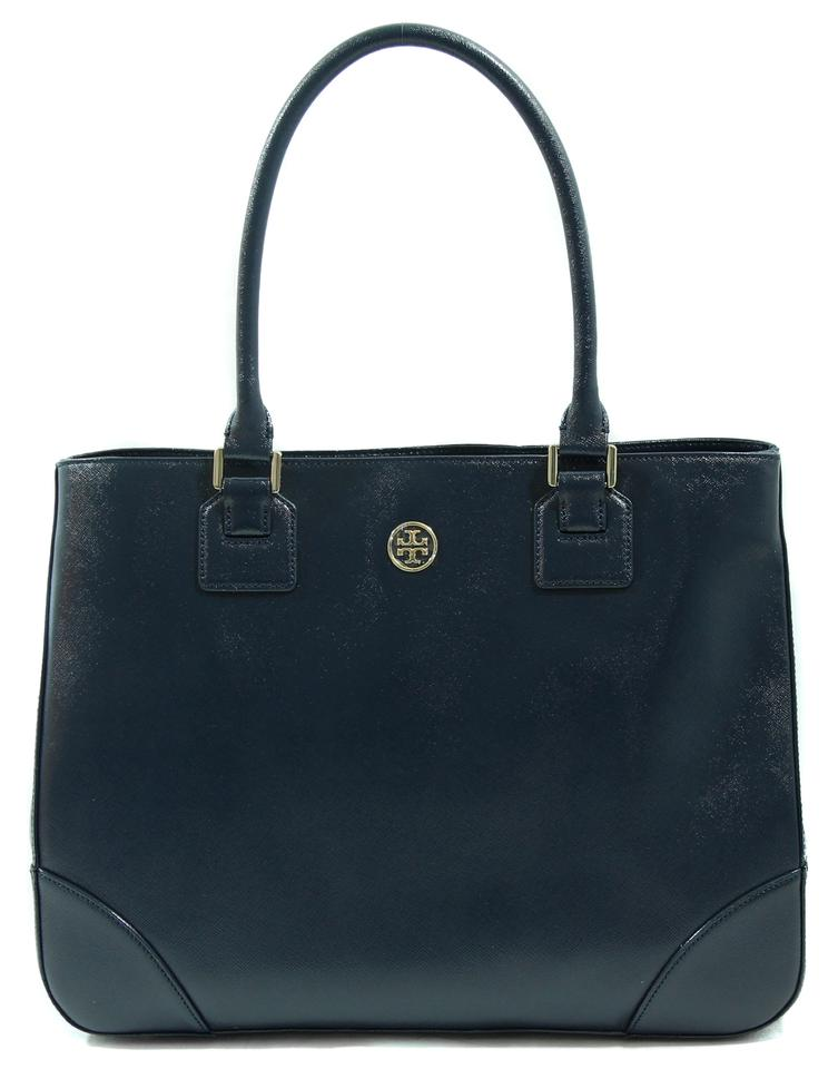 7431caa13e2 Tory Burch Robinson East West Tote Handbag Blue Leather Satchel ...