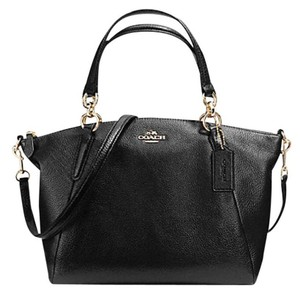 Coach Kelsey Pebbled Leather Pink Crossbody Satchel in Black gold