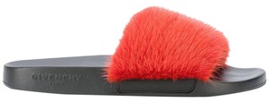 Givenchy Mink Mink Fur Slide Fur Slide Fur Slide Slide Red Sandals