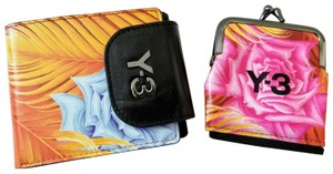 Y-3 NEW boxed Y-3 Y3 Ench Leather floral unisex Bifold Wallet & coin purse