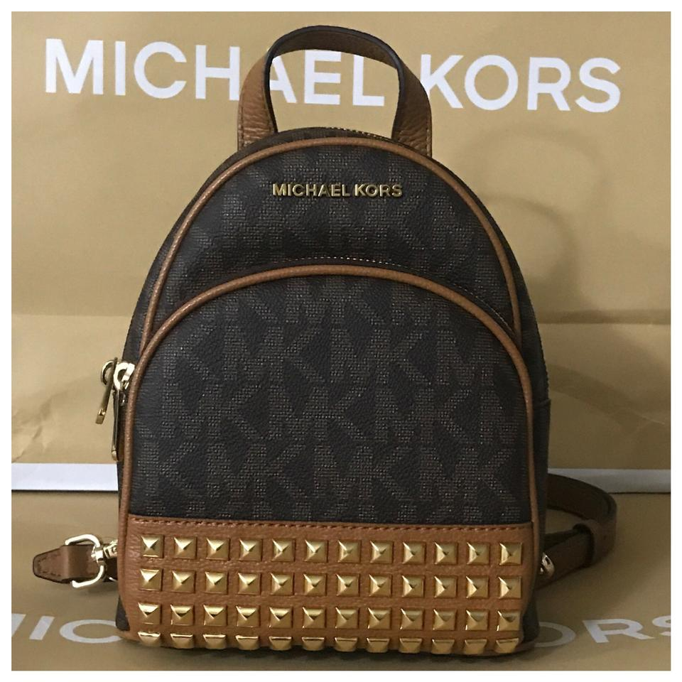 bd6ee09a9a2 Michael Kors Mk Abbey Xs Studded & Credit Card Holder- Brown/Acorn Backpack  43% off retail