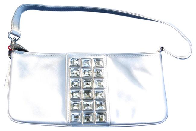 Item - Envelope with Swarovski® Crystal Squares Pearl Grey Satin Wristlet