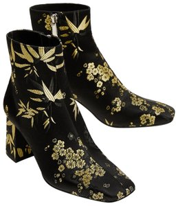 Zara Satin Flowers Floral Gold black Boots