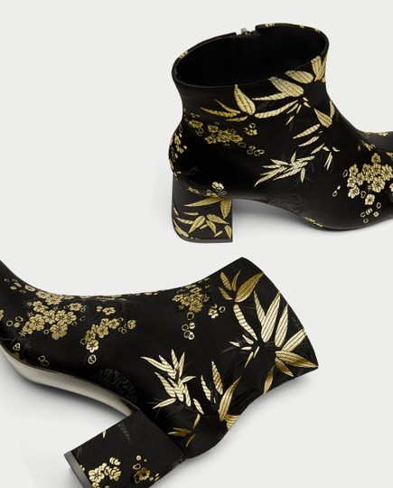 Zara Satin Flowers Floral Gold black Boots Image 1