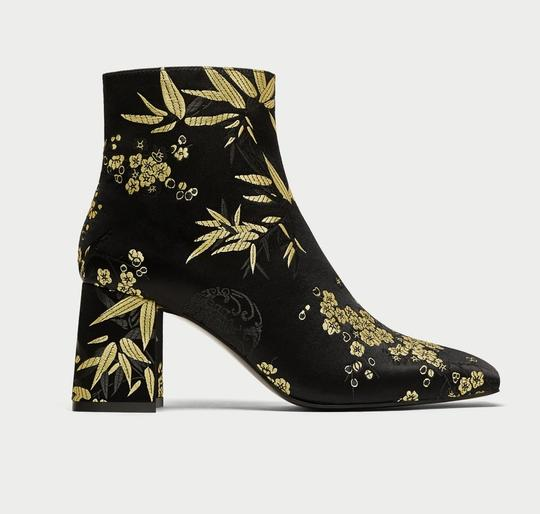 Zara Satin Flowers Floral Gold black Boots Image 3