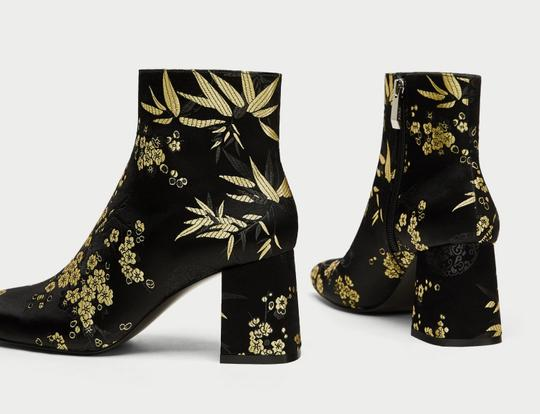 Zara Satin Flowers Floral Gold black Boots Image 4