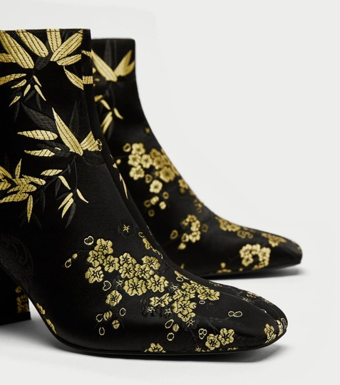 Zara Satin Flowers Floral Gold black Boots Image 5