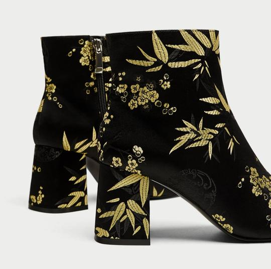 Zara Satin Flowers Floral Gold black Boots Image 6