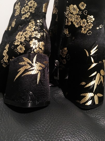 Zara Satin Flowers Floral Gold black Boots Image 7