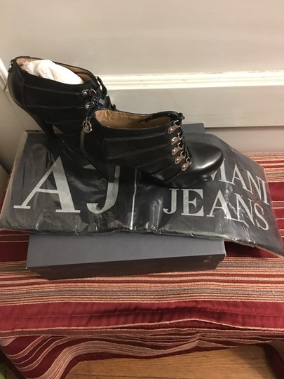 Armani Jeans European Made In Italy Pebble Leather Heels Black Boots Image 3