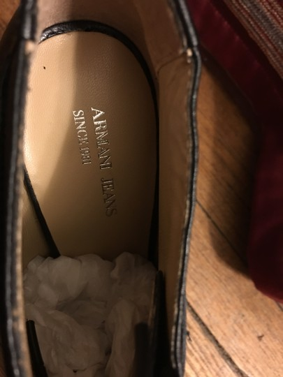 Armani Jeans European Made In Italy Pebble Leather Heels Black Boots Image 9
