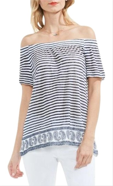 Preload https://img-static.tradesy.com/item/22878266/vince-camuto-off-the-shoulder-striped-paisley-navy-white-top-0-1-650-650.jpg