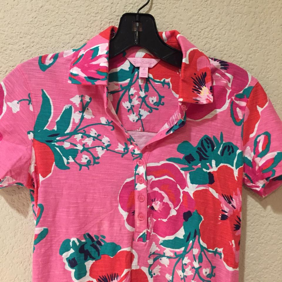 e7496c43 Lilly Pulitzer Pink Red Green Floral Polo Button-down Top Size 2 (XS ...