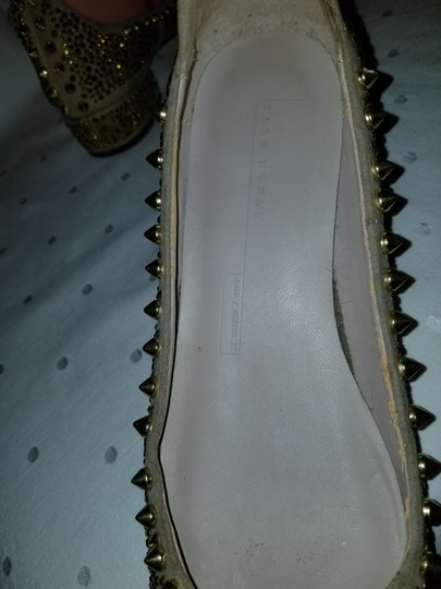 Zara Beige and Gold Flats Image 10