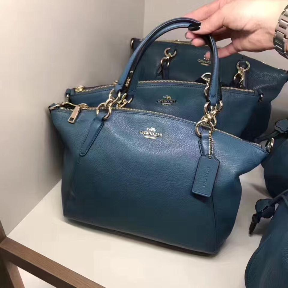 Coach Kelsey Small In Pebble Dark Teal Leather Satchel Tradesy 12345678