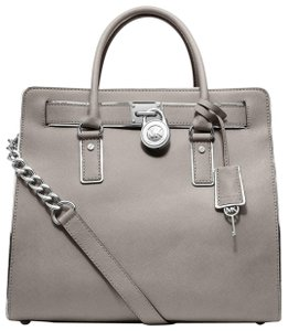 Michael Kors Silver Spechio Satchel Light Tote in Pearl Grey