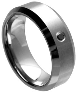 Tungsten Rings silver tungsten ring with black diamond