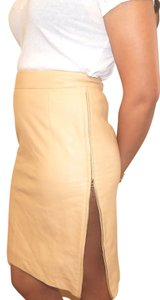 Escada Leather Lambskin Mini Zip Slit Skirt Camel