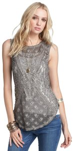 Free People Sleeveless Lace Embroidered Floral Top