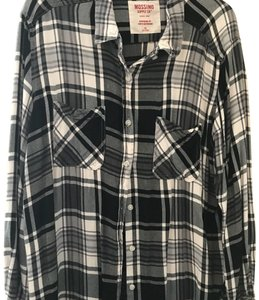 Mossimo Supply Co. Button Down Shirt Black and White Plaid