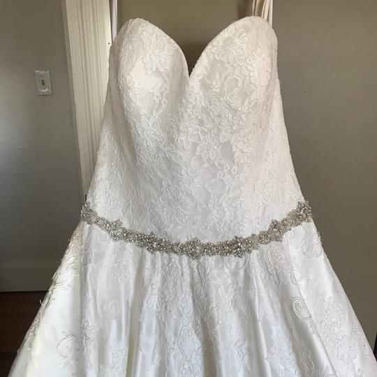 Allure Bridals Ivory Satin and Lace Tulle Gown Feminine Wedding Dress Size 16 (XL, Plus 0x) Image 1