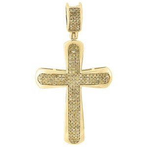 Jewelry For Less 10K Gold Canary Yellow Diamond Domed Cross Pendant Mens Charm 0.42 Ct.