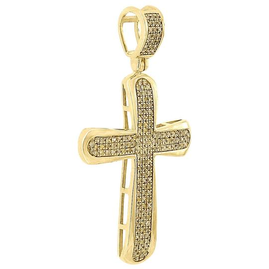 Jewelry For Less 10K Gold Canary Yellow Diamond Domed Cross Pendant Mens Charm 0.42 Ct. Image 1