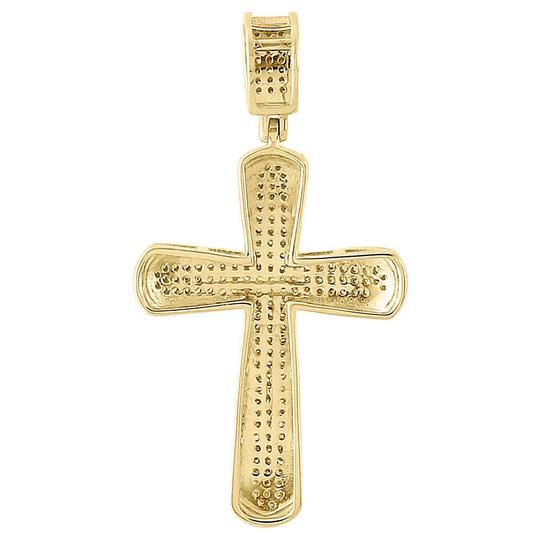 Jewelry for less yellow gold 10k canary diamond domed cross pendant jewelry for less 10k gold canary yellow diamond domed cross pendant mens charm 042 ct aloadofball Images
