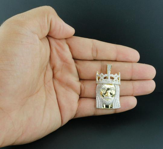 Jewelry For Less Mini Diamond Jesus Face Pendant .925 Sterling Silver Crown Charm 1 Ct. Image 7