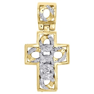 Jewelry For Less 10K Yellow Gold Diamond 3D Dome Cross Cuban Link Pendant Charm 0.29 CT