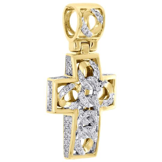 Jewelry For Less 10K Yellow Gold Diamond 3D Dome Cross Cuban Link Pendant Charm 0.29 CT Image 1
