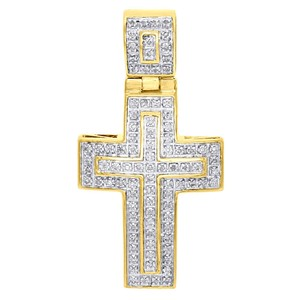 Jewelry For Less 10K Yellow Gold Diamond Domed Outline Cross Pendant 1.45