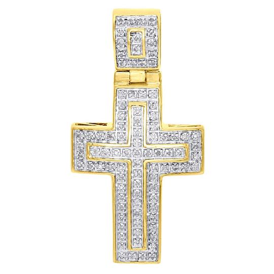 Preload https://img-static.tradesy.com/item/22879617/jewelry-for-less-yellow-gold-10k-diamond-domed-outline-cross-pendant-145-14-ct-charm-0-0-540-540.jpg