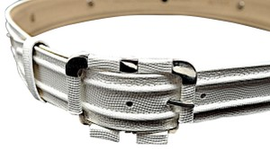 Per Se PER SE White Embossed Leather Belt with Chrome Accents