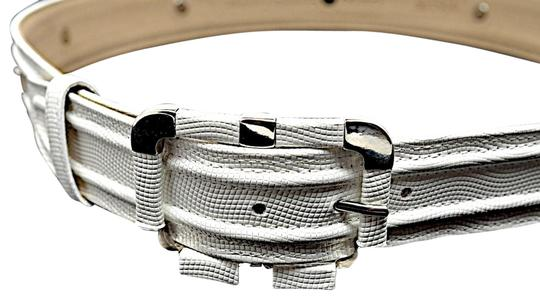Per Se PER SE White Embossed Leather Belt with Chrome Accents Image 0