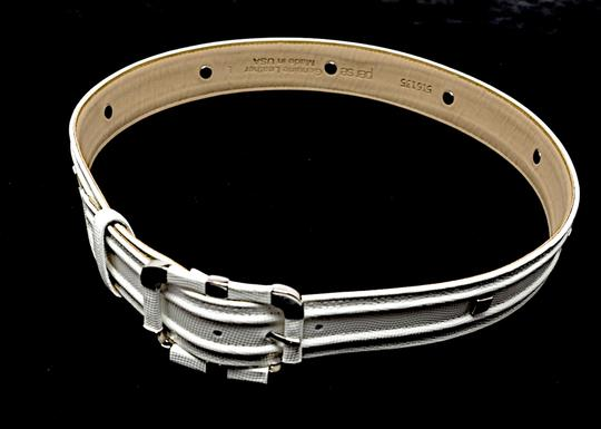 Per Se PER SE White Embossed Leather Belt with Chrome Accents Image 1