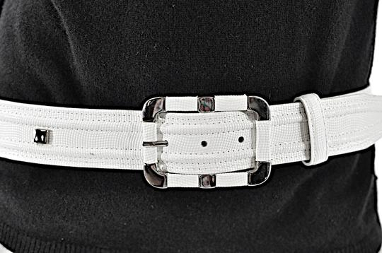 Per Se PER SE White Embossed Leather Belt with Chrome Accents Image 2