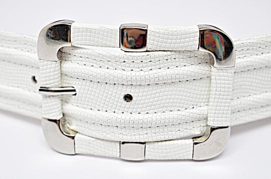 Per Se PER SE White Embossed Leather Belt with Chrome Accents Image 3