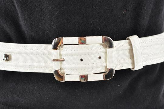 Per Se PER SE White Embossed Leather Belt with Chrome Accents Image 4