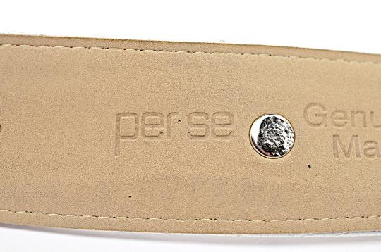 Per Se PER SE White Embossed Leather Belt with Chrome Accents Image 5