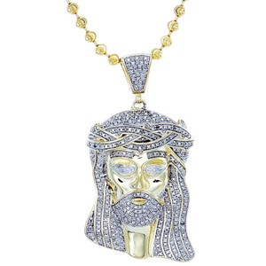 Jewelry For Less Diamond Jesus Face Piece Pendant .925 Charm 1 Ct with Moon-cut Chain