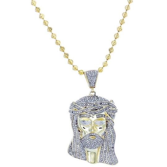 Jewelry For Less Diamond Jesus Face Piece Pendant .925 Charm 1 Ct with Moon-cut Chain Image 1