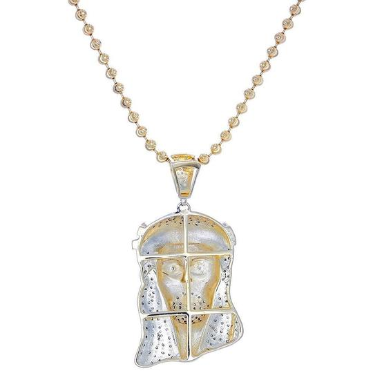 Jewelry For Less Diamond Jesus Face Piece Pendant .925 Charm 1 Ct with Moon-cut Chain Image 2