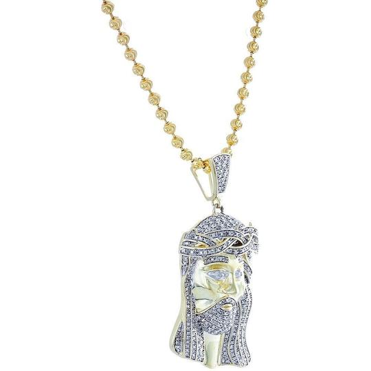 Jewelry For Less Diamond Jesus Face Piece Pendant .925 Charm 1 Ct with Moon-cut Chain Image 3
